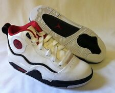 New! Boy's Youth Nike Air Jordan Athletic Sneakers in White/Black/Red  RARE C4