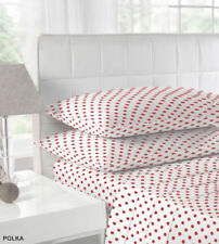 LUXURY POLKA DOT FITTED FLANNELETTE SHEETS AVAILABLE IN RED TEAL BLACK FUCHSIA