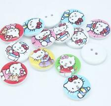 Mixed Colors HelloKitty Cat Wooden Buttons 2 Holes Fit Sewing Scrapbook 20mm