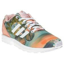 New Womens adidas Pink Multi Zx Flux Textile Trainers Floral Lace Up