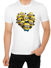 Minion Heart Despicable Me  Men's White T-Shirt Brand New