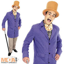 Chocolate Factory Owner Mens Costume + Hat Willy Wonka Adults Fancy Dress Outfit