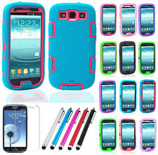 Hybrid Best Impact Dual Layer Case Rubber Cover For Samsung Galaxy S3 SIII i9300