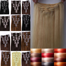 Grade AA 100% True Clip In Remy Human Hair Extensions Full Head TANGLE FREE F387