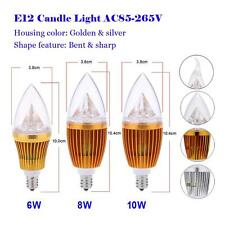 E12 6W/8W/10W LED Candle Bulb Chandelier Lamp Spotlight White Light Gold/Silver