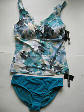 JANTZEN Lovely Layers tankini two-piece swimsuit 12 L New Floral Green