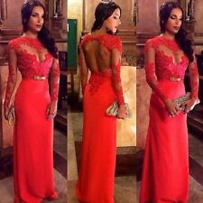 New Sexy Women Lace Prom Ball Dresses Long Sleeve Formal Evening Gown Size 6-18
