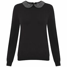 FABULOUS NEW Ex M&S Black Jumper with Polka Dot Peter Pan Collar  sizes 6-22
