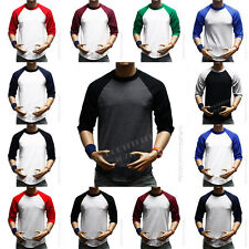 3/4 Sleeve S-3XL Plain BaseBall T-Shirts Raglan Jersey Vintage Tee New Men's