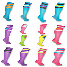 Neon Colored Knee High Tube Socks w/ Various Colored Stripes Team Sport Soccer