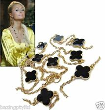 Lucky 4 Leaf Clover Celebrity Long Chain Necklace Celebrity Style Gold Paris