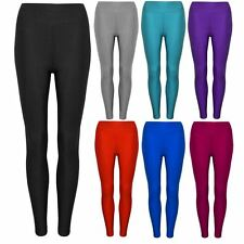 NEW LADIES SEXY SHINY STRETCHY DISCO HIGH WAISTED LEGGINGS PANTS SIZE 8-14