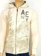 American Eagle Outfitters AE NY Applique Hoodie Mens Ivory Zip Jacket New NWT