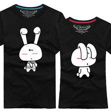 12-color Women men clothes  Lovers couple T-shirt Cute Rabbit D#