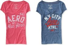 AEROPOSTALE women girl AERO LOGO V-neck Graphic T-shirt Tee XS,S,L,2XL NEW