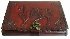 Vintage handmade Leather cover Journal embossed horse gift claps secret diary