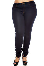 Womens Ladies Plus Size dark navy skinny slim/skinny JEANS sexy casual basic bae