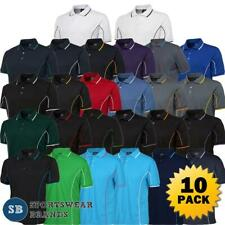 10 Pack Mens Piping Polo Shirt Team Sport Contrast Top Quick Dry Size S-5XL 7PIP