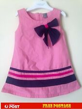 New Baby Girls Pink with Bow Dresses Summer Party Size 1,2,3,4,5,6,7,8