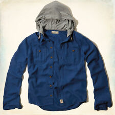 NWT HOLLISTER By Abercrombie Northside Hooded Shirt Blue