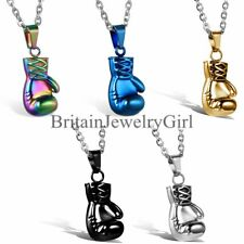 """Men's Stainless Steel Boxing Gloves Pendant  22"""" Chain Necklace"""