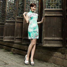 Summer Chinese Cheongsam Cheong-Sam Qipao Dress white w green flowers
