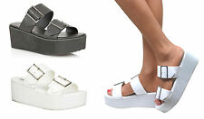 LADIES CHUNKY CLEATED SOLE SHOES PLATFORM WEDGE SLIP ON SANDALS FLATFORMS SIZE