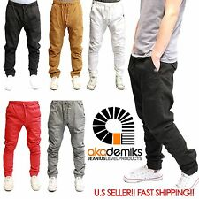 AKADEMIKS JOGGER Men Elastic Waist Drop Crotch Twill Trousers Sweat Pants