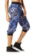 Authentic New Zumba Frill Me Harem Capri Pants Surfs Up Blue   ~ $42