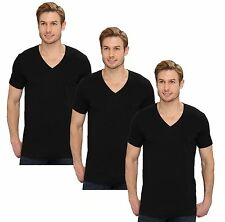 Calvin Klein Mens Underwear 100% Cotton Classic V-Neck T-shirt 3-Pk M9065 Black