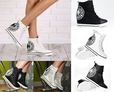 WOMENS LADIES  LACE UP  CANVAS SHOES  WEDGE HIGH HEEL SNEAKERS BOOTS TRAINERS