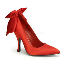 "PINUP Sexy Red Satin Bow Pointy Toe 4 1/2"" High Heels Pumps Shoes BOMB03/RSA"