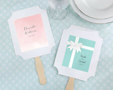 Personalized White Summer Hand Fans Wedding Favor Asst Designs & Qty
