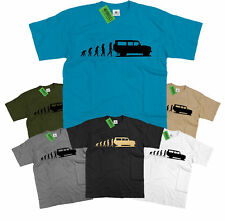 Mens Evolution of Ape to Land Rover Defender 110 T Shirt Off Road Landrover