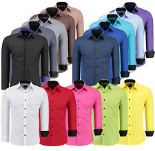 Mens Long Sleeve Casual Shirt Dress Formal Business Wedding Slim Fit Size S- 6XL