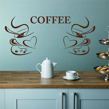 2 Two COFFEE CUPS Kitchen Diner Cafe Bistro Wall Sticker Art Decal Transfer