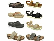 Ladies Dunlop Toe Post Flip Flop Wedge Summer Beach Sandals Shoe Size UK