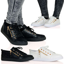 Georgia Womens Flat Lace Up Casual Zip Detail Pumps Ladies Girls Trainers D2Z