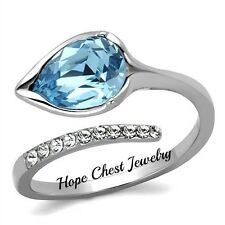 WOMEN'S STAINLESS STEEL CALLA LILY FLOWER AQUAMARINE CRYSTAL RING SIZE 5 - 10