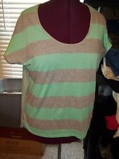 LADIES SIZE L PULLOVER BLOUSE STRIPED TOP BATWING SLEEVES KNIT SHIRT BLUE/WHITE