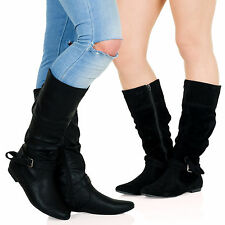 Vera Womens Flat Zip Up Slouch Mid Calf Riding Boots Buckle Casual Ladies D2Y