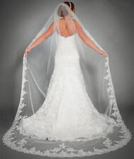 Charming One Tier Bridal Cathedral Wedding Veil White/Ivory Custom Lace Edge Hot