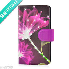 Bling Diamond Purple Lotus Design PU Leather Flip Case Cover For Lenovo Phone
