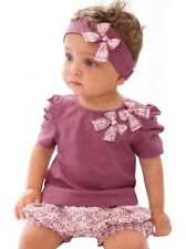 Newborn Baby Girls Clothes Headband + Top + Shorts 3PCS Floral Girl Outfits TYA4
