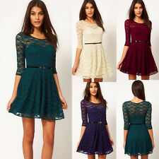 Stylish Design Womens Lace Hollow Slim Party Cocktail Wedding Crew Neck Dresses