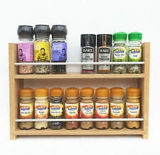 SOLID OAK SPICE RACK 2 TIERS OPEN TOP DEEP SHELVES KITCHEN STORAGE WALL WORKTOP