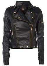 Ladies Biker Black Jacket Womens Faux PU Leather Crop Coat Sizes UK 8-12