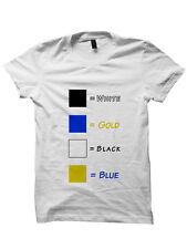 WHAT COLOR IS THIS DRESS T-SHIRT WHITE AND GOLD DRESS BLACK AND BLUE DRESS SHIRT