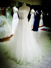 New White/Ivory lace Strapless Bead Ball Wedding Dress Bridal Gown custom