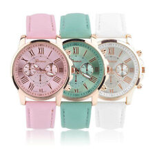 Geneva Women Girl Roman Numerals Leather Strap Band Analog Quartz Wrist Watch